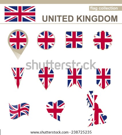 United Kingdom Flag Collection, 12 versions - stock vector