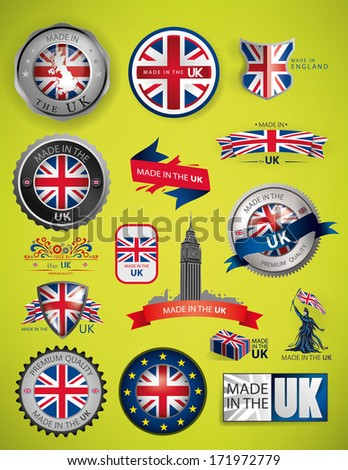 United Kingdom Flag, England Seals, Artwork (Vector) - stock vector