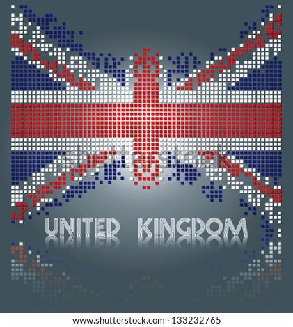 United Kingdom flag from square blocks - stock vector