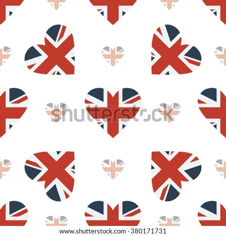 United Kingdom flag heart seamless pattern. Patriotic United Kingdom flag background. Country flag in the shape of heart. Vector seamless pattern.