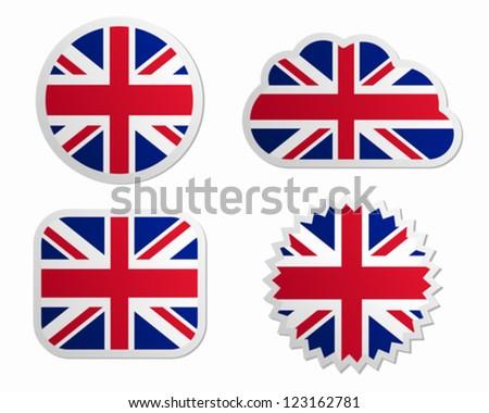 United Kingdom flag labels - stock vector
