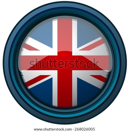 United Kingdom Flag on a Round Glossy Shield, Vector Illustration isolated on White Background.  - stock vector