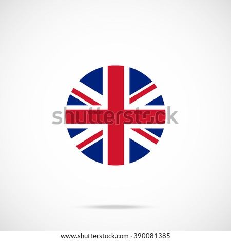 United Kingdom flag round icon. UK flag icon with accurate official color scheme. Premium quality british flag in circle. Vector icon isolated on gradient background - stock vector