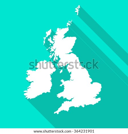 United Kingdom,Great Britain map flat simple style with long shadow. - stock vector