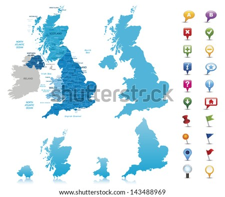 United Kingdom -highly detailed map.All elements are separated in editable layers clearly labeled. Vector - stock vector