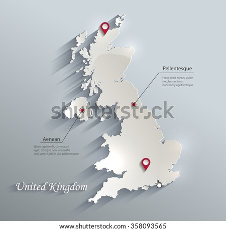United Kingdom map blue white card paper 3D vector - stock vector
