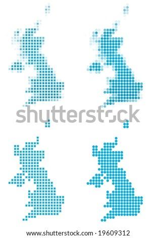 United Kingdom map mosaic set. Isolated on white background. - stock vector