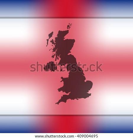 United Kingdom map on blurred background. Blurred background with silhouette of United Kingdom. United Kingdom. United Kingdom map. London. England map. England. United Kingdom flag. Great Britain. - stock vector