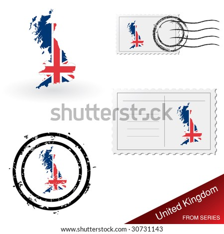 United Kingdom map, stamps and postcard set from series - stock vector