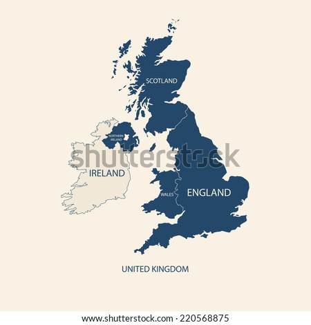 UNITED KINGDOM MAP, UK MAP  - stock vector