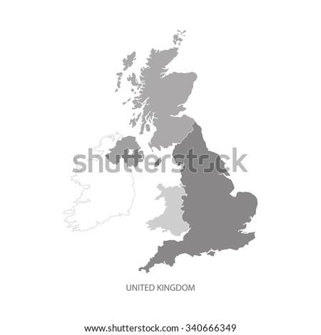 UNITED KINGDOM MAP, UK MAP GREYSCALE - stock vector