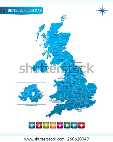 United Kingdom Map with navigation icons - stock vector