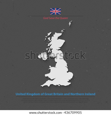 United Kingdom of Great Britain and Northern Ireland map and official flag icons. vector British political map 3d illustration. EU geographic banner template. business concept maps - stock vector