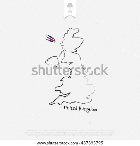 United Kingdom of Great Britain and Northern Ireland outline map over paper texture. vector British map icon on white background. UK geographic banner template. travel and business concept logo - stock vector