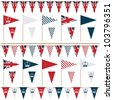 united kingdom party flags and bunting, isolated on white - stock vector