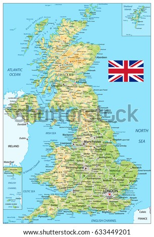 United kingdom physical map vector illustration stock vector united kingdom physical map vector illustration sciox Image collections
