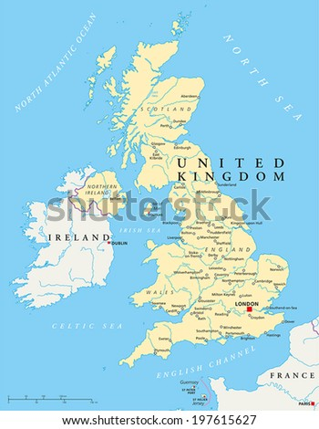 united kingdom political map with capital london national borders most important cities rivers