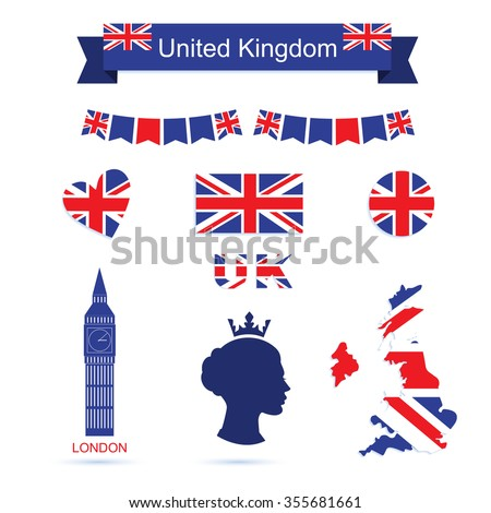 uk flag and map icons set big ben icon queen