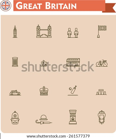United Kingdom travel icon set - stock vector