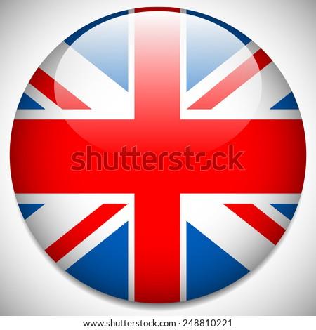 United Kingdom, UK Flag Badge - UK flag vector icon - stock vector