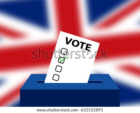 United Kingdom (UK) General Election 2017 Vector Illustration. Ballot Box for a UK General Election. General Election 8th June 2017 written on a British Union jack flag. United Kingdom vote.