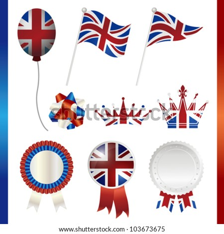 united kingdom union jack set - stock vector
