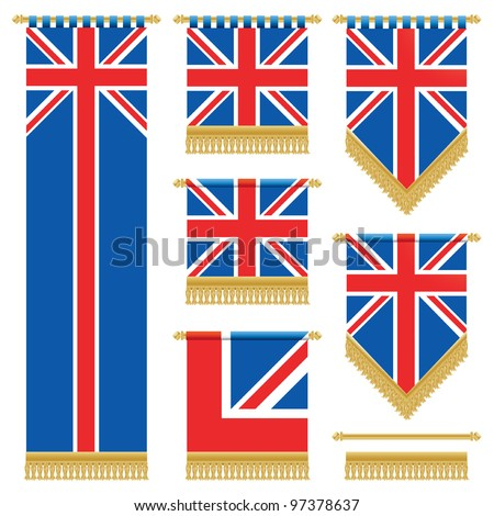 united kingdom vertical wall hangings with gold tassel fringing, isolated on white - stock vector