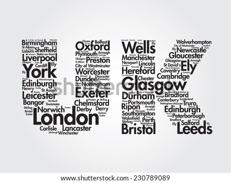 United Kingdom words cloud, cities, travel, agency logotype, vector background - stock vector