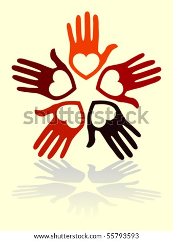 United loving hands with copy space vector.