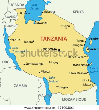 United Republic of Tanzania - vector map - stock vector