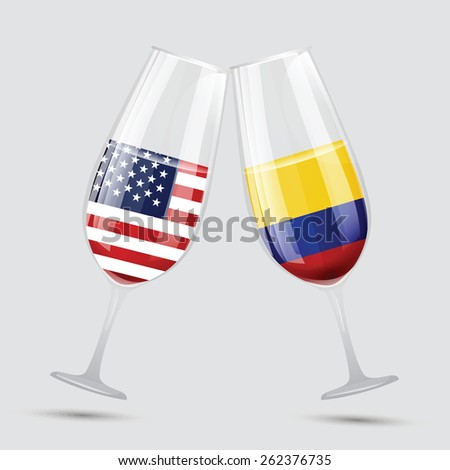United state of America and Colombia friendship flag wine glass vector illustration - stock vector