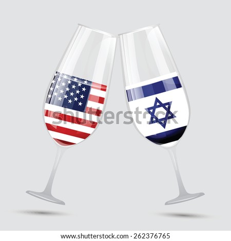 United state of America and Israel friendship flag wine glass vector illustration - stock vector