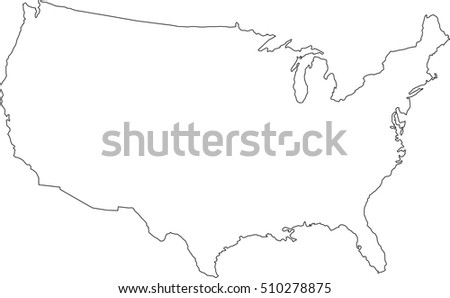Line Map United States America Stock Vector 263026742 Shutterstock