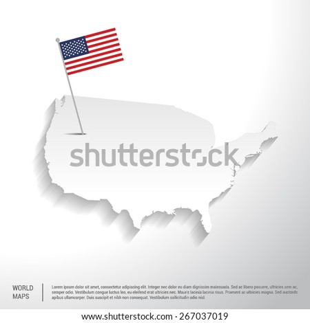 United state of America flag showing on world map. vector illustration - stock vector