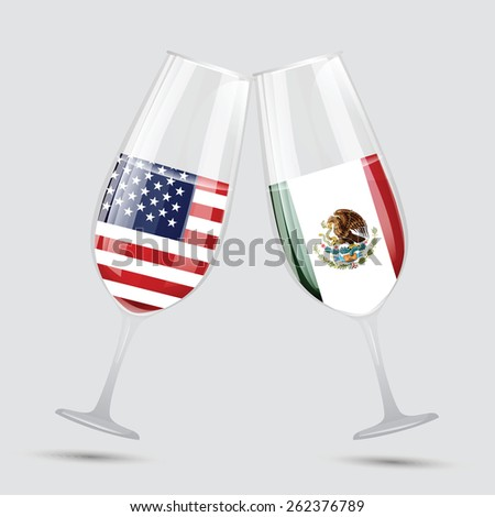 United state of America USA and Mexico friendship glass vector illustration  - stock vector