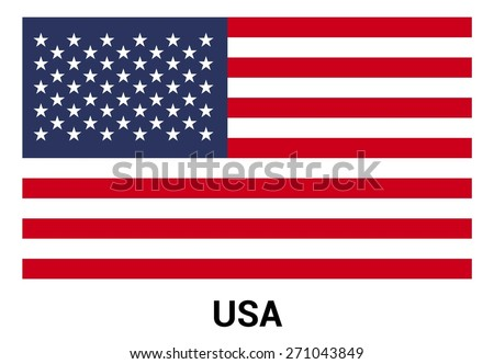United State of America USA flag isolated vector in official colors and Proportion Correctly. country's name label in bottom - stock vector