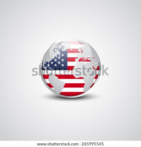 United State of America USA Vector flag button | Abstract glossy globe in background. Vector illustration, EPS 10. - stock vector