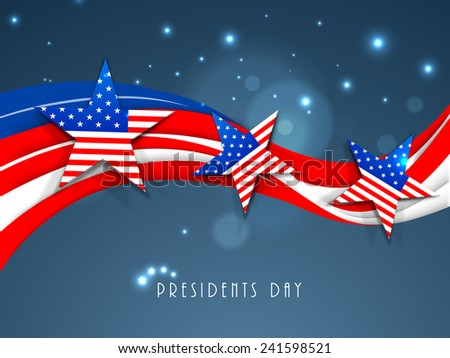 United State of American flag color waves with stars for Presidents Day celebration on shiny blue background. - stock vector