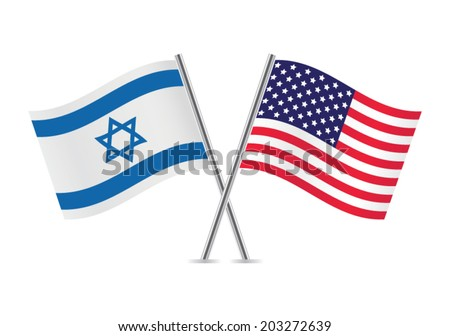 United States and Israel flags. Vector illustration. - stock vector