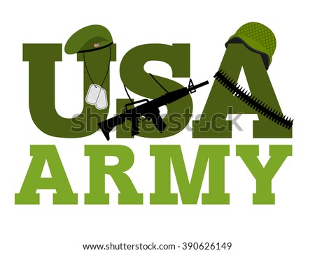 United States Army. Military text logo. American army. Green beret and protective soldiers helmet. Military Rifle and army badge. ammunition belts - stock vector