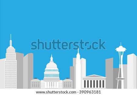 United States Buildings - stock vector