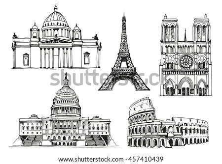 United States Capitol Building, Eiffel Tower, Notre Dame de Paris Cathedral, Saint Isaac's Cathedral, Coliseum, world landmark vector set - stock vector
