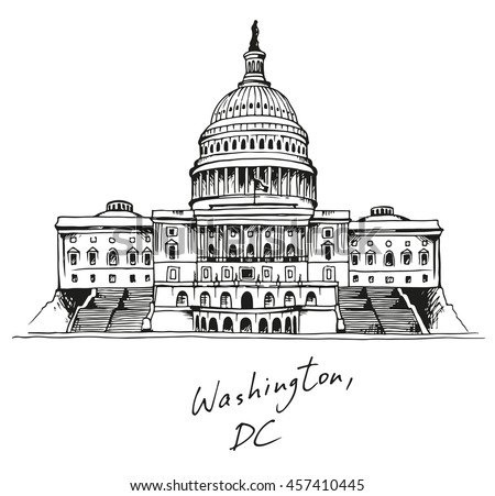 United States Capitol Building in Washington, DC, vector illustration with text