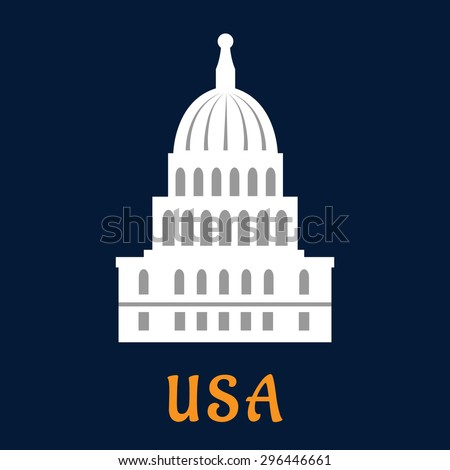 United States Capitol concept in flat style depicting building of US congress in Washington DC on dark blue background with caption USA for travel or government design - stock vector