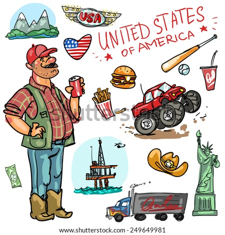 United States cartoon collection. - stock vector