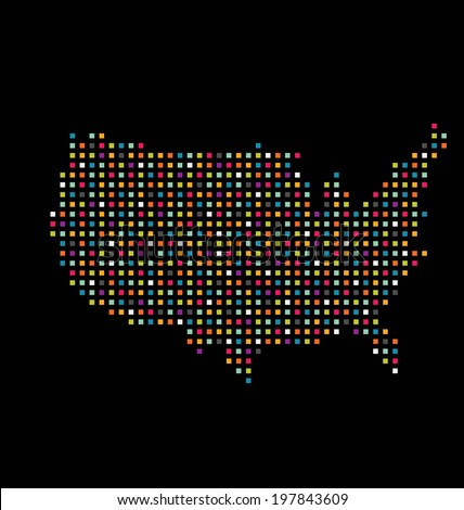 Dotted Night Map United States America Stock Illustration - Us map dot
