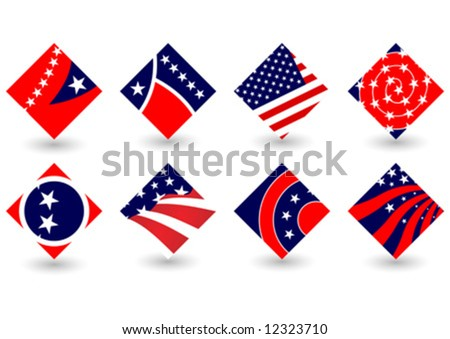 United States colors. Abstract election icons or Fourth of July theme - stock vector