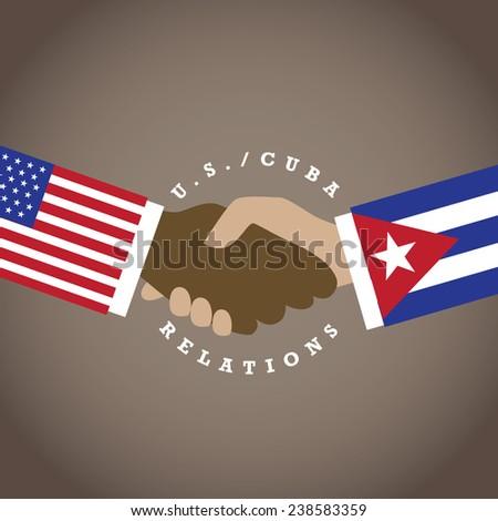 United States Cuba relations flat design EPS 10 vector stock illustration - stock vector