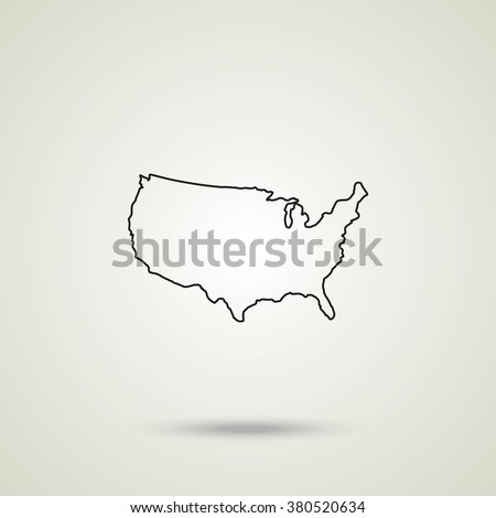united states detailed map thin line ilration outline usa map vector icon