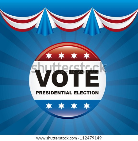 united states election vote over blue background. vector illustration - stock vector